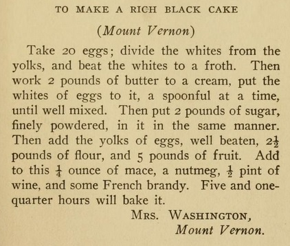 Mrs. Washington's Cake Recipe