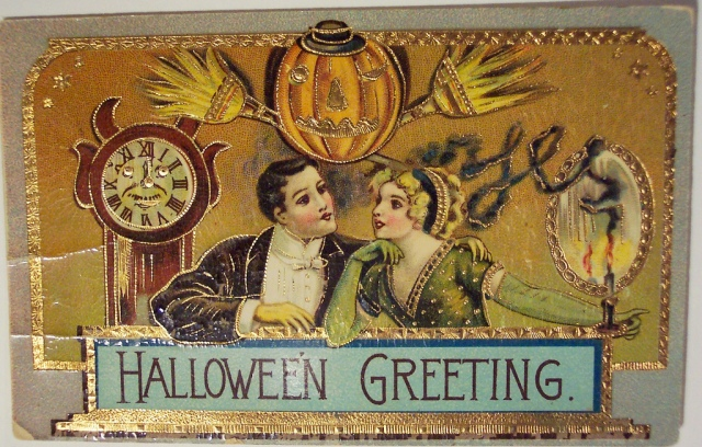 halloween greeting postcard