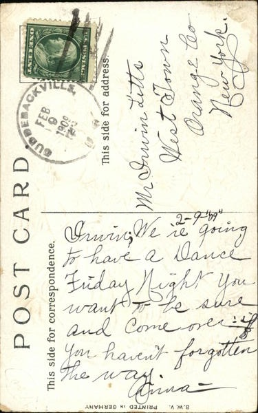 Postcard Back, 1909 Feb-9 Postmark