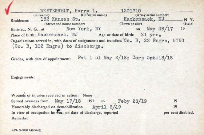 westervelt harry l service card